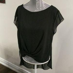 Zara black shear high low blouse